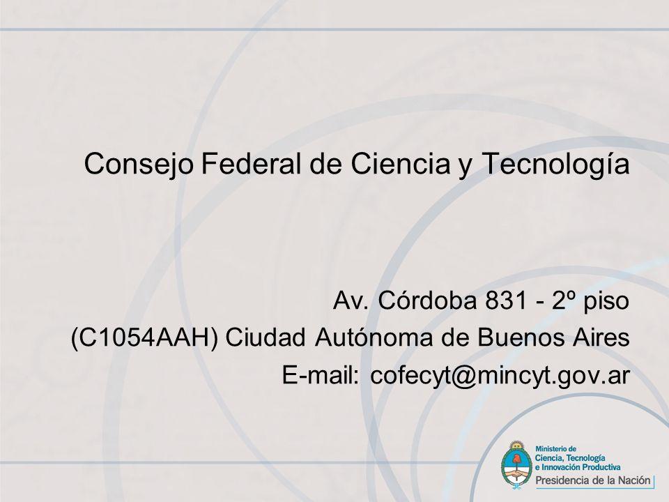 Consejo Federal de Ciencia y Tecnología Av.