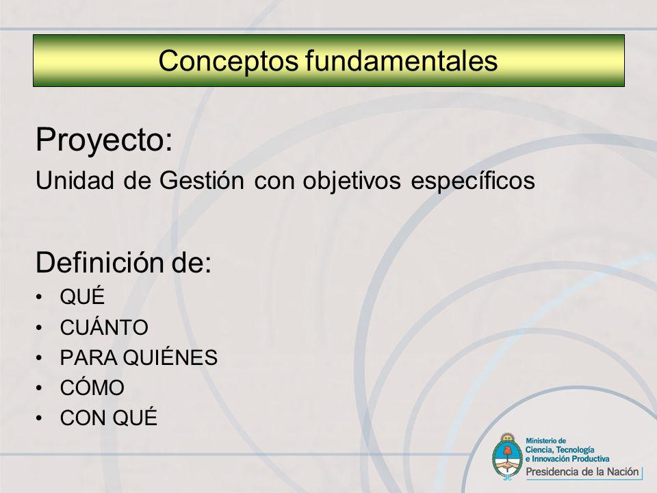 Proyecto: Unidad de Gestión con objetivos específicos Definición de: QUÉ CUÁNTO PARA QUIÉNES CÓMO CON QUÉ Conceptos fundamentales