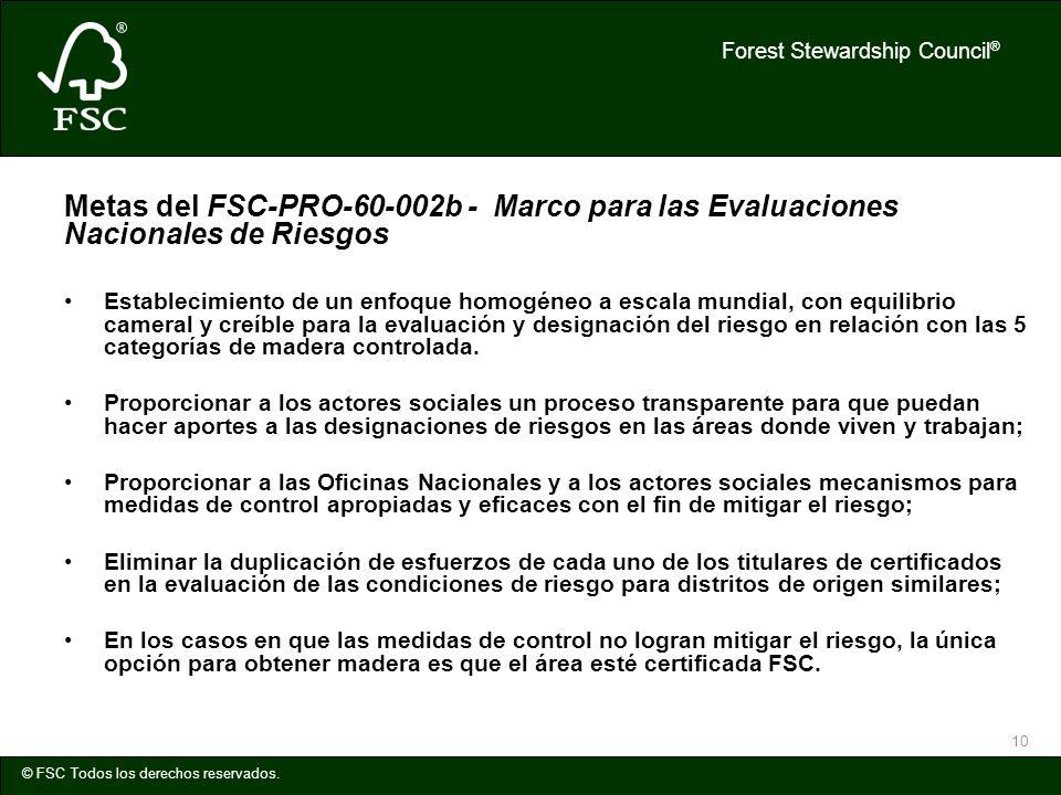 Forest Stewardship Council ® © FSC Todos los derechos reservados. 10 Metas del FSC-PRO-60-002b - Marco para las Evaluaciones Nacionales de Riesgos Est