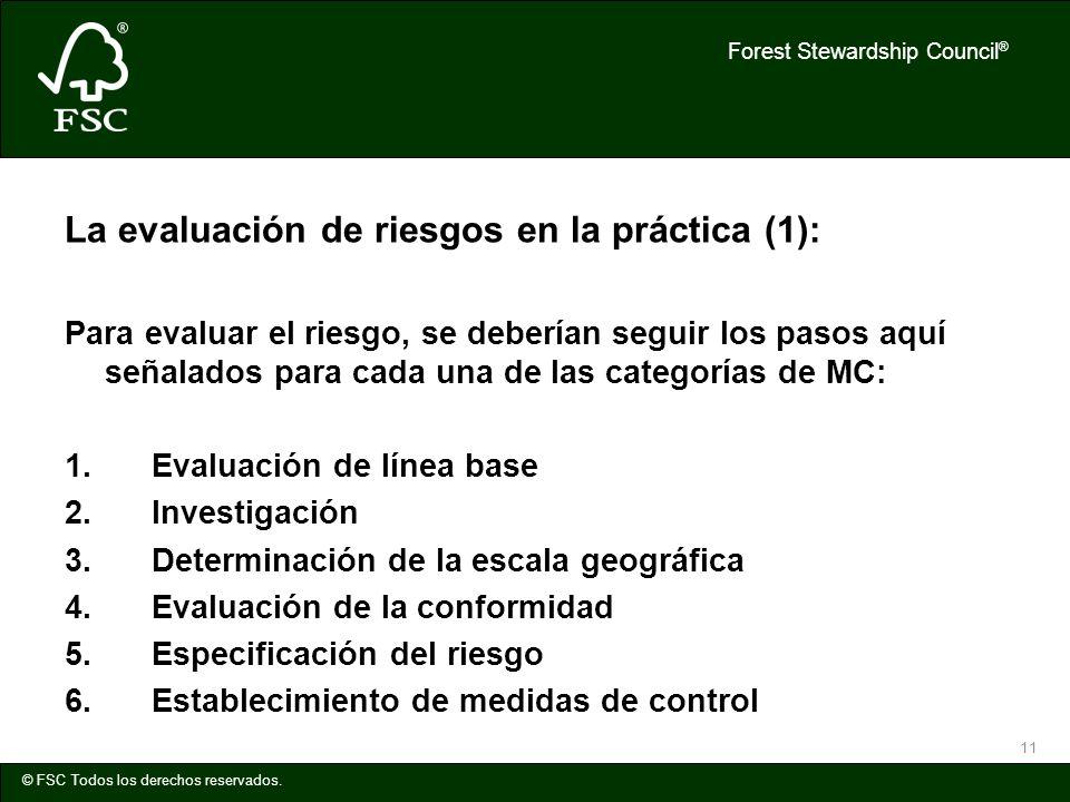 Forest Stewardship Council ® © FSC Todos los derechos reservados. 11 La evaluación de riesgos en la práctica (1): Para evaluar el riesgo, se deberían
