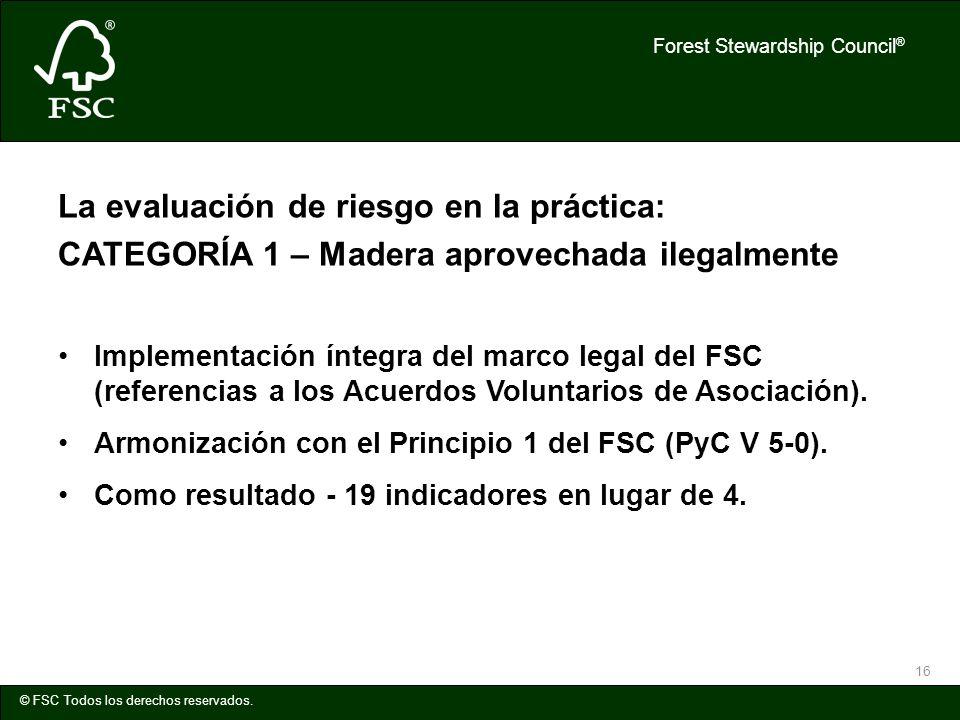 Forest Stewardship Council ® © FSC Todos los derechos reservados. 16 La evaluación de riesgo en la práctica: CATEGORÍA 1 – Madera aprovechada ilegalme