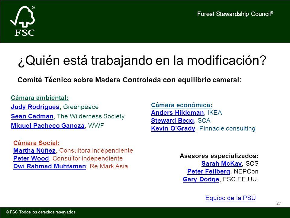 Forest Stewardship Council ® © FSC Todos los derechos reservados. 27 ¿Quién está trabajando en la modificación? Comité Técnico sobre Madera Controlada