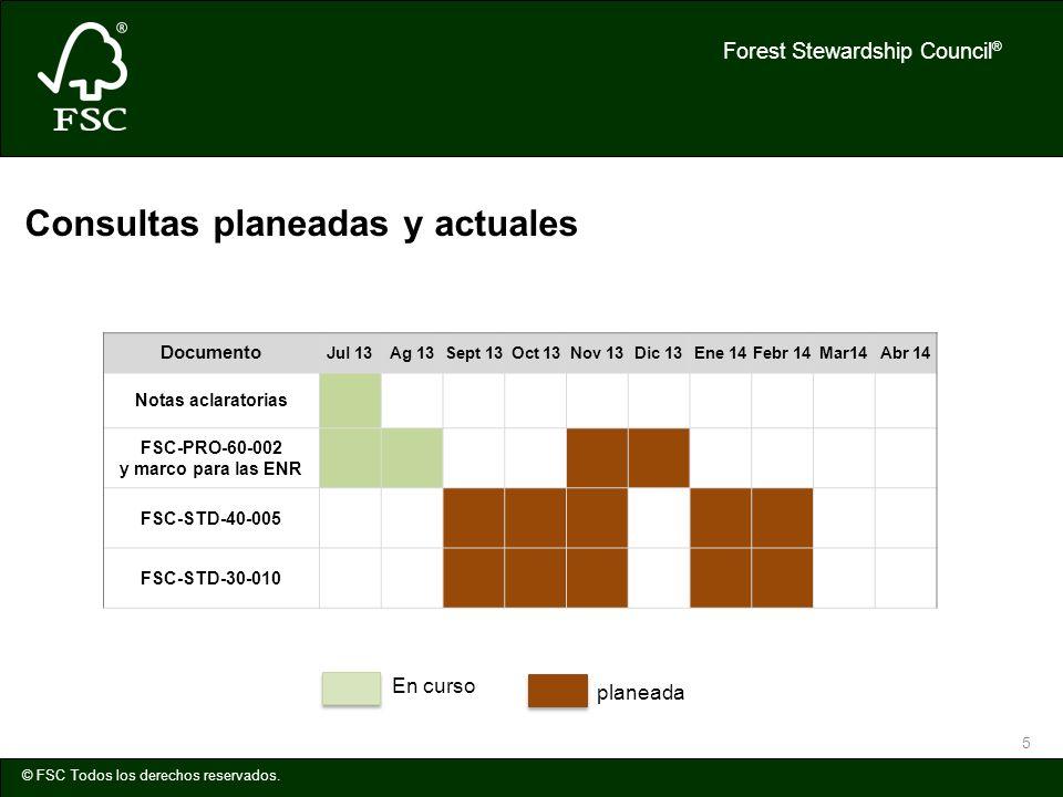 Forest Stewardship Council ® © FSC Todos los derechos reservados. 5 Documento Jul 13Ag 13Sept 13Oct 13Nov 13Dic 13Ene 14Febr 14Mar14Abr 14 Notas aclar