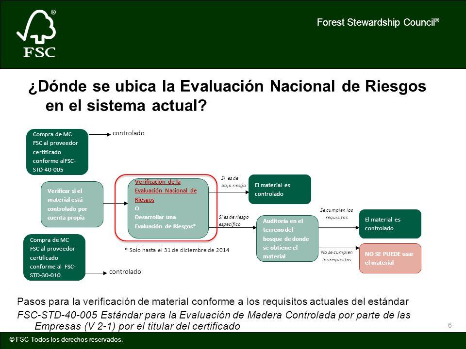 Forest Stewardship Council ® © FSC Todos los derechos reservados. 6 ¿Dónde se ubica la Evaluación Nacional de Riesgos en el sistema actual? No se cump