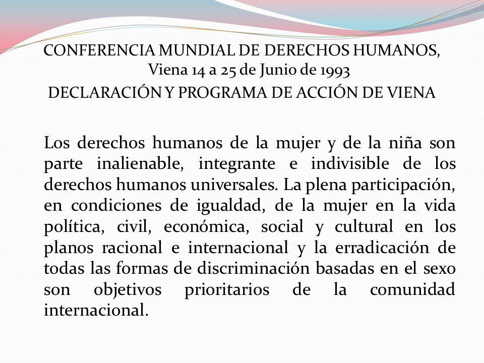 CONFERENCIA MUNDIAL DE DERECHOS HUMANOS, Viena 14 a 25 de Junio de 1993 DECLARACIÓN Y PROGRAMA DE ACCIÓN DE VIENA Los derechos humanos de la mujer y d