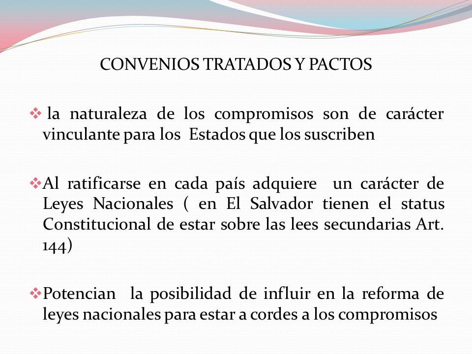 CONVENIOS TRATADOS Y PACTOS la naturaleza de los compromisos son de carácter vinculante para los Estados que los suscriben Al ratificarse en cada país