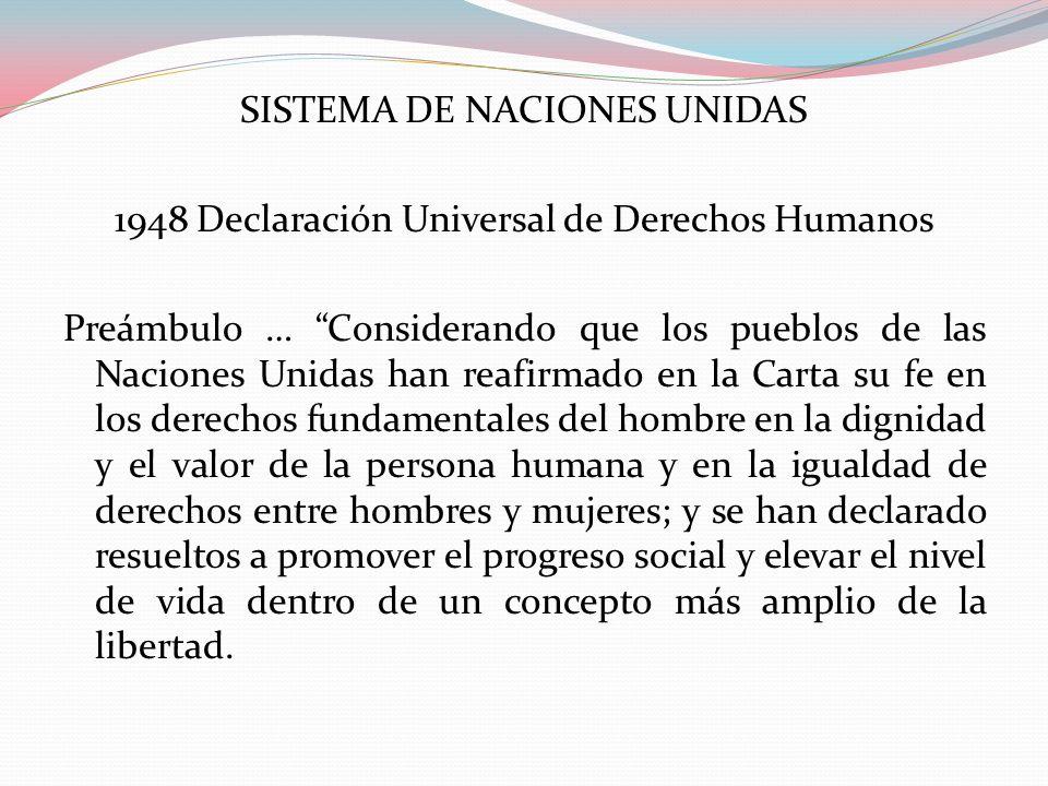 SISTEMA DE NACIONES UNIDAS 1948 Declaración Universal de Derechos Humanos Preámbulo … Considerando que los pueblos de las Naciones Unidas han reafirma
