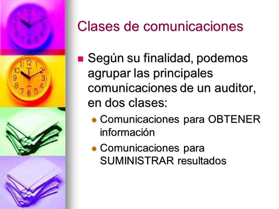 Clases de comunicaciones Según su finalidad, podemos agrupar las principales comunicaciones de un auditor, en dos clases: Según su finalidad, podemos