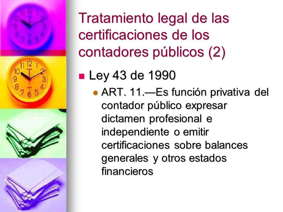 Tratamiento legal de las certificaciones de los contadores públicos (2) Ley 43 de 1990 Ley 43 de 1990 ART. 11.Es función privativa del contador públic