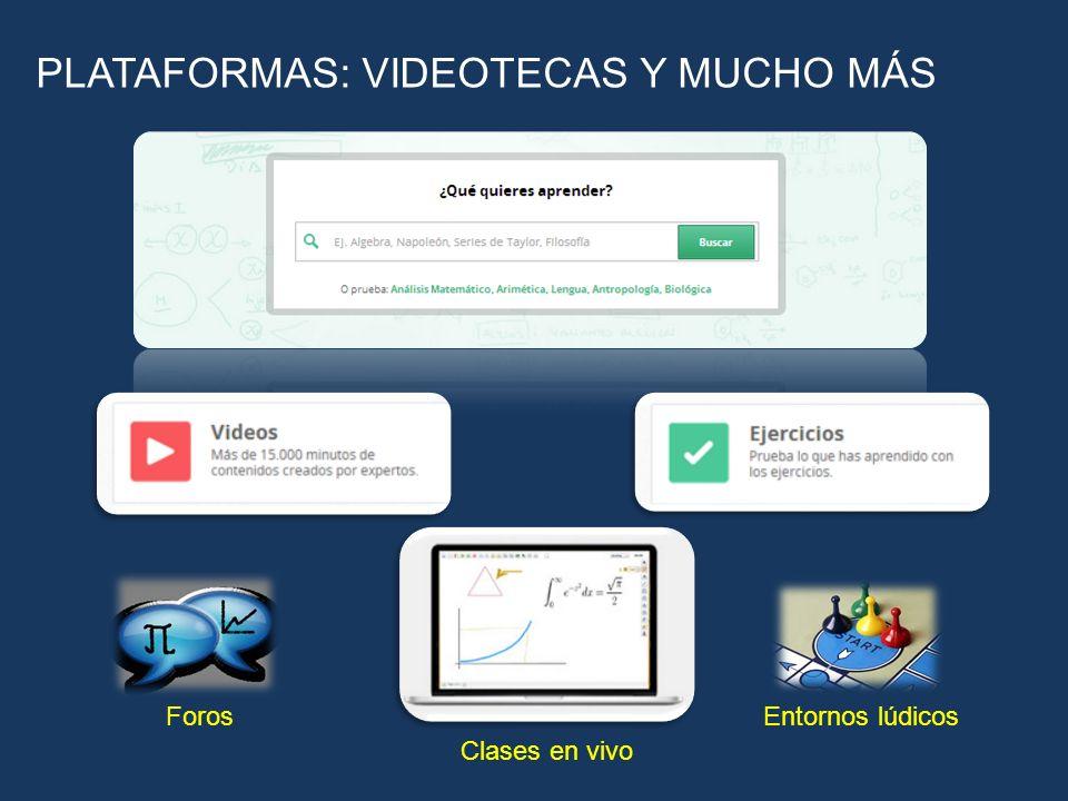 PLATAFORMAS: VIDEOTECAS Y MUCHO MÁS Foros Clases en vivo Entornos lúdicos