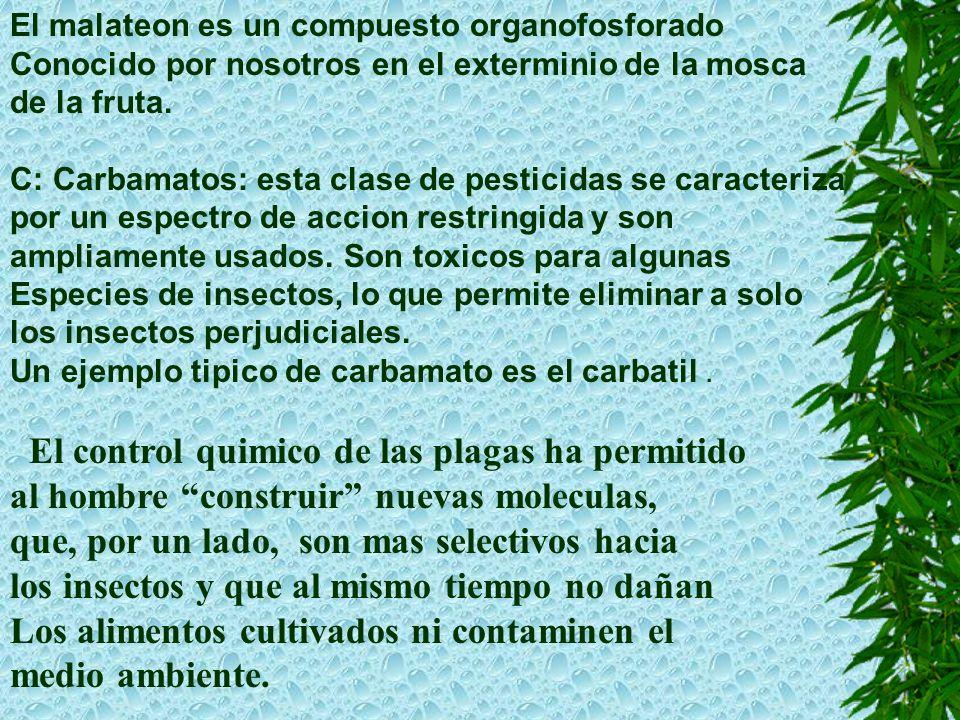 El malateon es un compuesto organofosforado Conocido por nosotros en el exterminio de la mosca de la fruta.