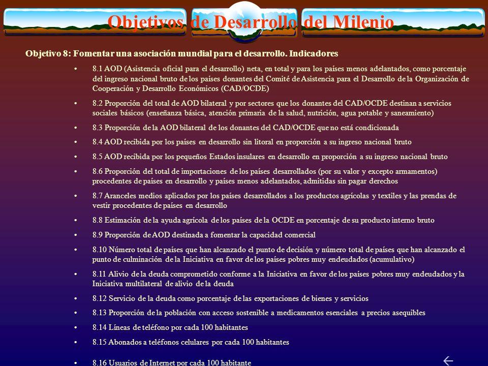Objetivos de Desarrollo del Milenio Objetivo 8: Fomentar una asociación mundial para el desarrollo.