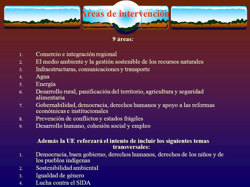 Áreas de intervención 9 áreas: 1. Comercio e integración regional 2.