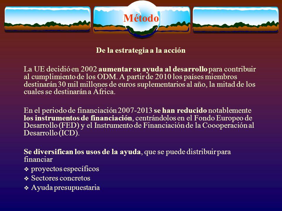 Método De la estrategia a la acción La UE decidió en 2002 aumentar su ayuda al desarrollo para contribuir al cumplimiento de los ODM.