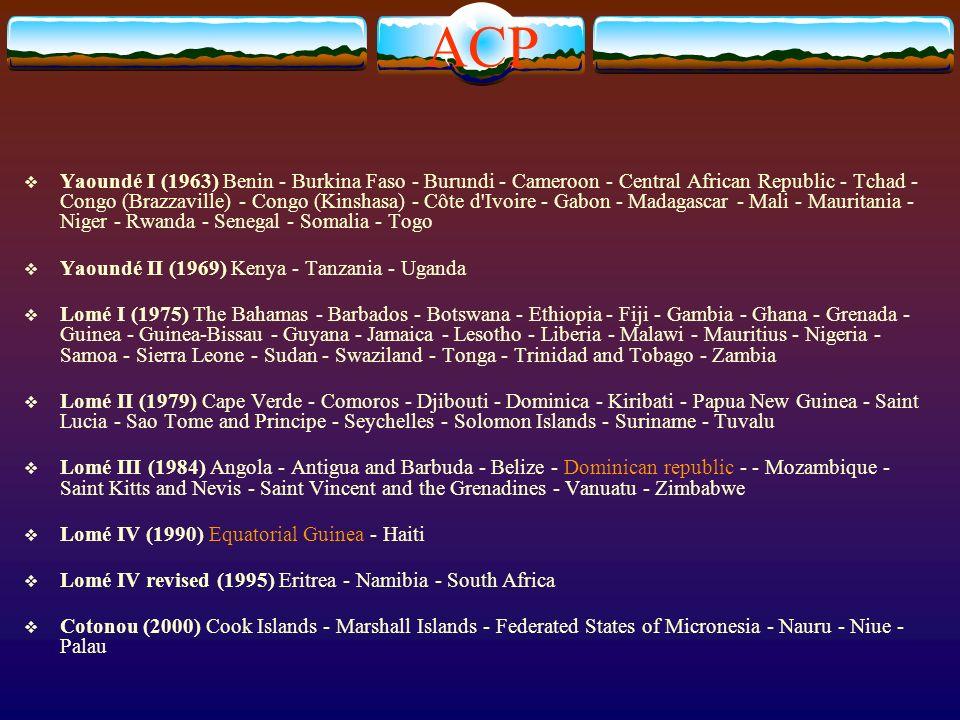 ACP Yaoundé I (1963) Benin - Burkina Faso - Burundi - Cameroon - Central African Republic - Tchad - Congo (Brazzaville) - Congo (Kinshasa) - Côte d Ivoire - Gabon - Madagascar - Mali - Mauritania - Niger - Rwanda - Senegal - Somalia - Togo Yaoundé II (1969) Kenya - Tanzania - Uganda Lomé I (1975) The Bahamas - Barbados - Botswana - Ethiopia - Fiji - Gambia - Ghana - Grenada - Guinea - Guinea-Bissau - Guyana - Jamaica - Lesotho - Liberia - Malawi - Mauritius - Nigeria - Samoa - Sierra Leone - Sudan - Swaziland - Tonga - Trinidad and Tobago - Zambia Lomé II (1979) Cape Verde - Comoros - Djibouti - Dominica - Kiribati - Papua New Guinea - Saint Lucia - Sao Tome and Principe - Seychelles - Solomon Islands - Suriname - Tuvalu Lomé III (1984) Angola - Antigua and Barbuda - Belize - Dominican republic - - Mozambique - Saint Kitts and Nevis - Saint Vincent and the Grenadines - Vanuatu - Zimbabwe Lomé IV (1990) Equatorial Guinea - Haiti Lomé IV revised (1995) Eritrea - Namibia - South Africa Cotonou (2000) Cook Islands - Marshall Islands - Federated States of Micronesia - Nauru - Niue - Palau