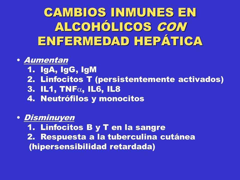 Aumentan 1.IgA, IgG, IgM 2. Linfocitos T (persistentemente activados) 3.