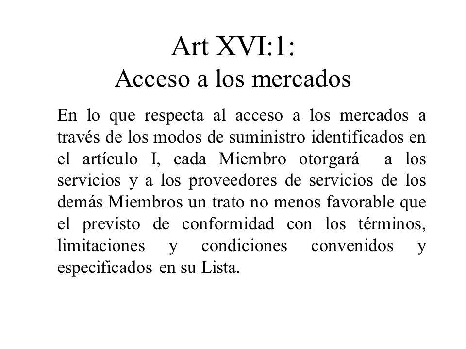 Art XVI:1: Acceso a los mercados En lo que respecta al acceso a los mercados a través de los modos de suministro identificados en el artículo I, cada