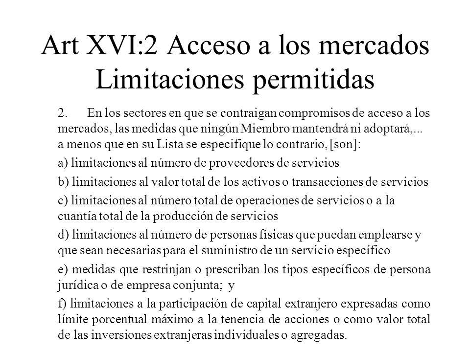 Art XVI:2 Acceso a los mercados Limitaciones permitidas 2.En los sectores en que se contraigan compromisos de acceso a los mercados, las medidas que n