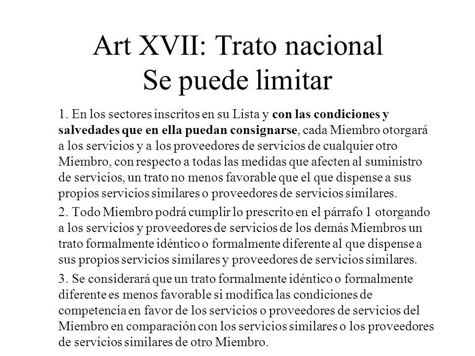 Art XVII: Trato nacional Se puede limitar 1. En los sectores inscritos en su Lista y con las condiciones y salvedades que en ella puedan consignarse,