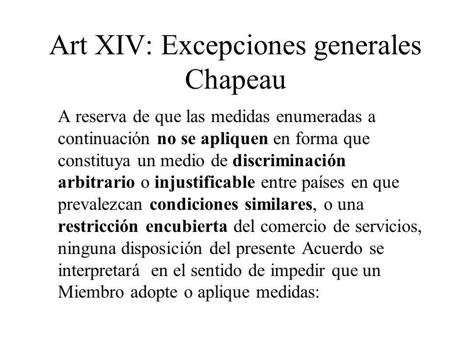Art XIV: Excepciones generales Chapeau A reserva de que las medidas enumeradas a continuación no se apliquen en forma que constituya un medio de discr