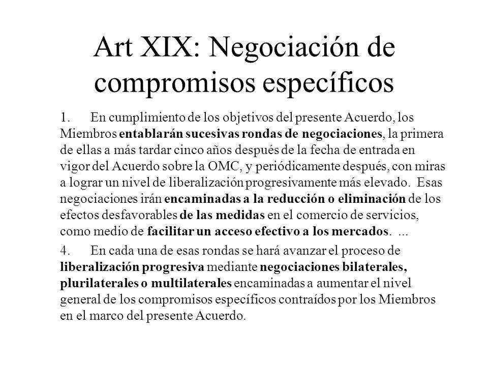 Art XIX: Negociación de compromisos específicos 1.En cumplimiento de los objetivos del presente Acuerdo, los Miembros entablarán sucesivas rondas de n