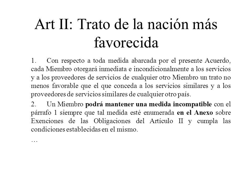 Art II: Trato de la nación más favorecida 1.Con respecto a toda medida abarcada por el presente Acuerdo, cada Miembro otorgará inmediata e incondicion