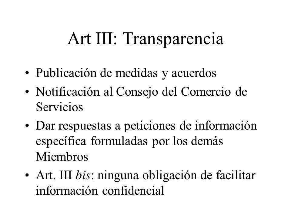 Art III: Transparencia Publicación de medidas y acuerdos Notificación al Consejo del Comercio de Servicios Dar respuestas a peticiones de información