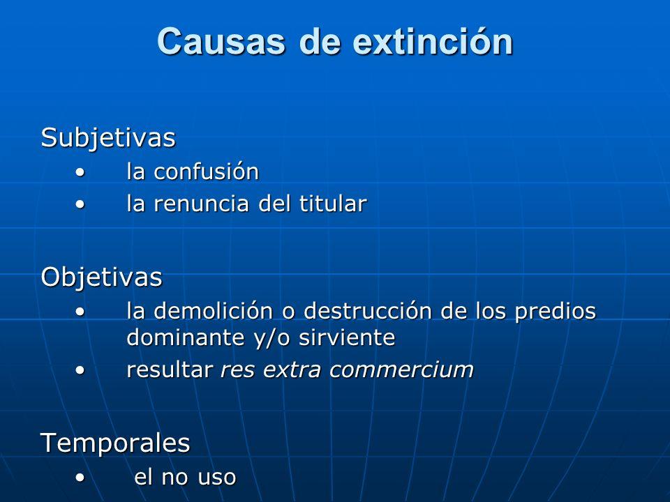 Causas de extinción Subjetivas la confusiónla confusión la renuncia del titularla renuncia del titularObjetivas la demolición o destrucción de los pre