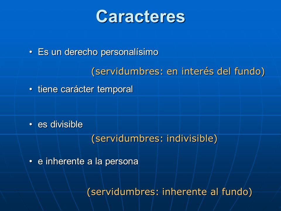 Caracteres Es un derecho personalísimoEs un derecho personalísimo tiene carácter temporaltiene carácter temporal es divisiblees divisible e inherente