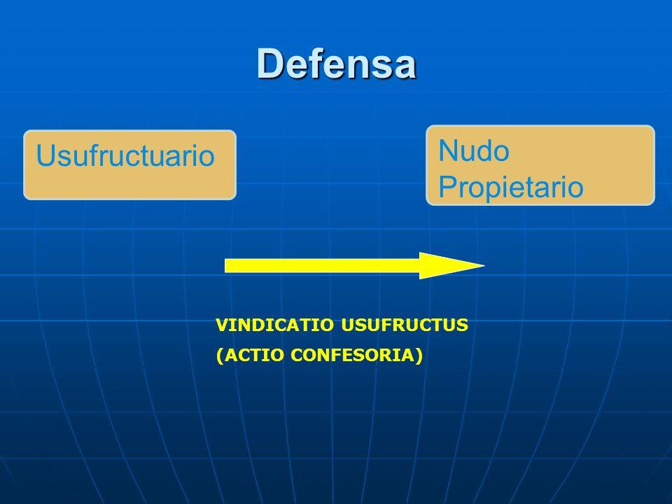 Defensa VINDICATIO USUFRUCTUS (ACTIO CONFESORIA) Usufructuario Nudo Propietario