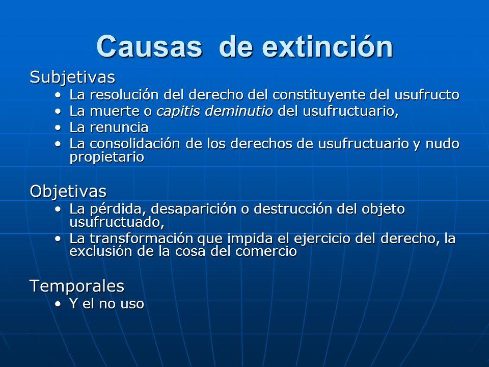 Causas de extinción Subjetivas La resolución del derecho del constituyente del usufructoLa resolución del derecho del constituyente del usufructo La m