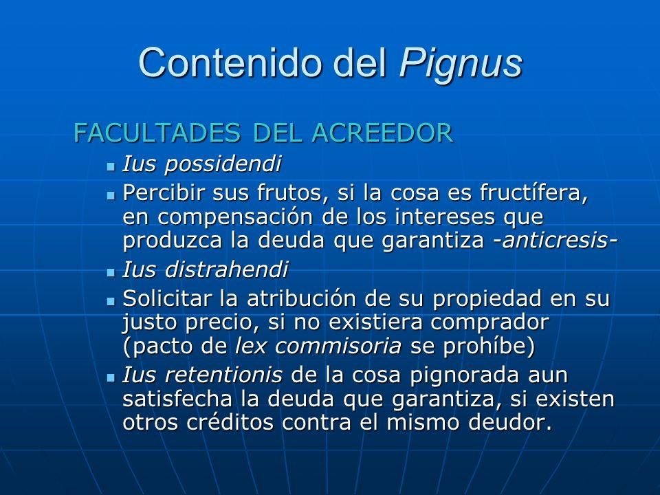 Contenido del Pignus FACULTADES DEL ACREEDOR Ius possidendi Ius possidendi Percibir sus frutos, si la cosa es fructífera, en compensación de los inter