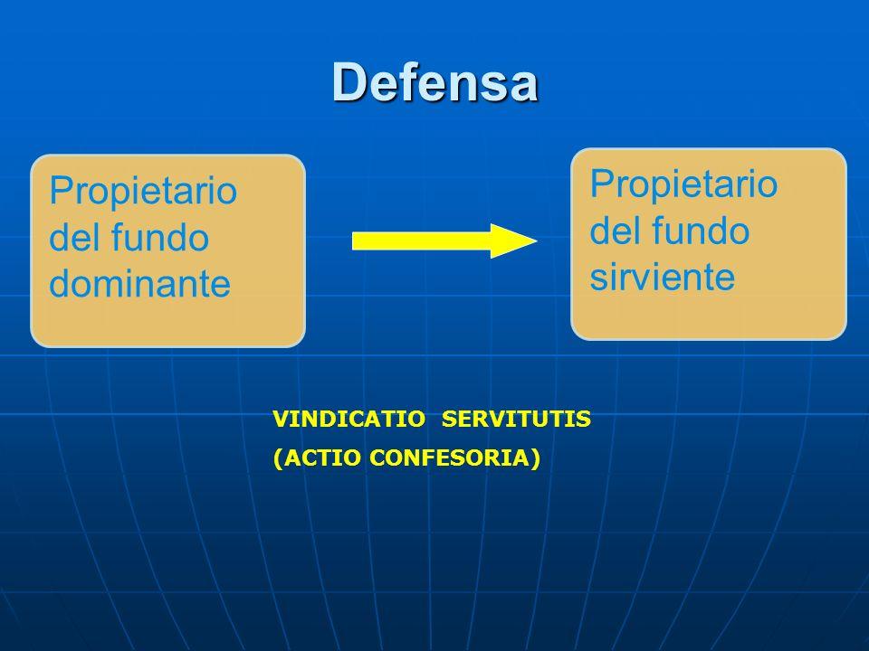 Defensa VINDICATIO SERVITUTIS (ACTIO CONFESORIA) Propietario del fundo dominante Propietario del fundo sirviente