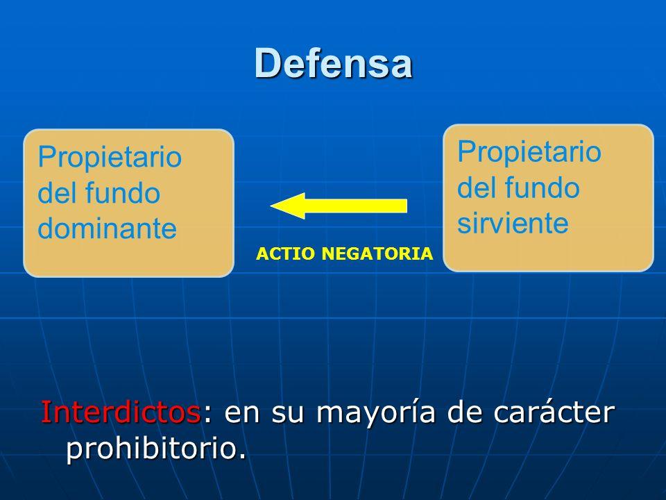 Defensa Interdictos: en su mayoría de carácter prohibitorio. ACTIO NEGATORIA Propietario del fundo dominante Propietario del fundo sirviente