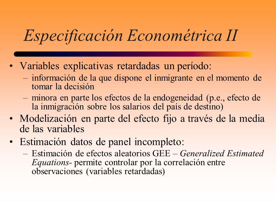 Especificación Econométrica II Variables explicativas retardadas un período: –información de la que dispone el inmigrante en el momento de tomar la de