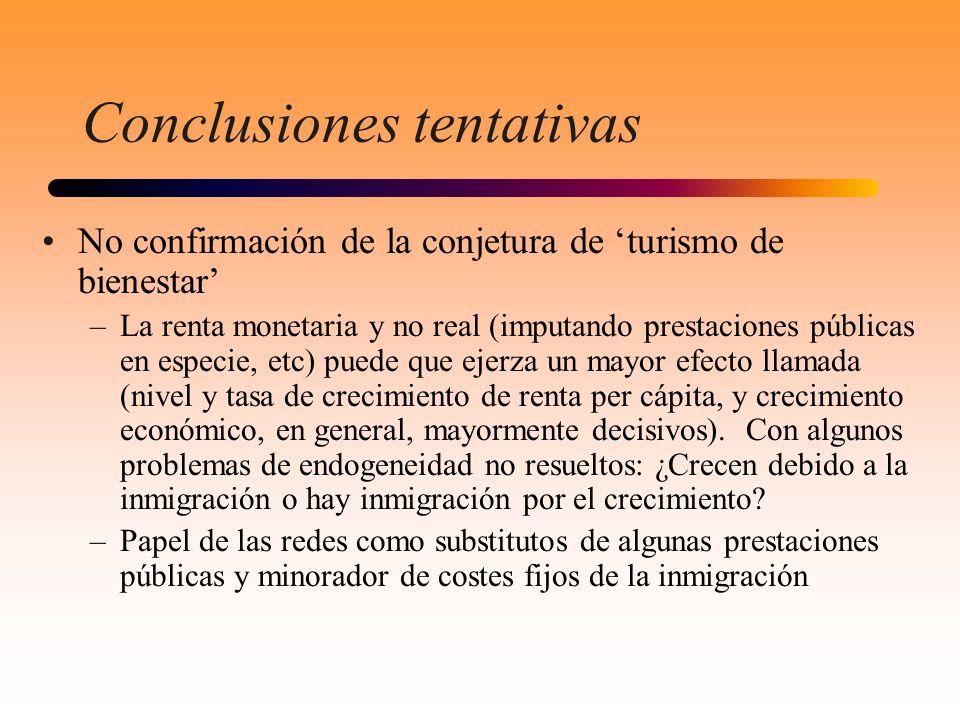 Conclusiones tentativas No confirmación de la conjetura de turismo de bienestar –La renta monetaria y no real (imputando prestaciones públicas en espe