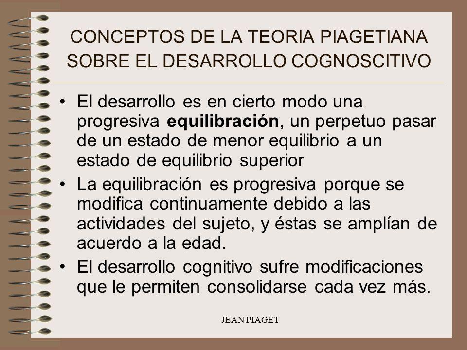 JEAN PIAGET CONCEPTOS DE LA TEORIA PIAGETIANA SOBRE EL DESARROLLO COGNOSCITIVO El desarrollo es en cierto modo una progresiva equilibración, un perpet