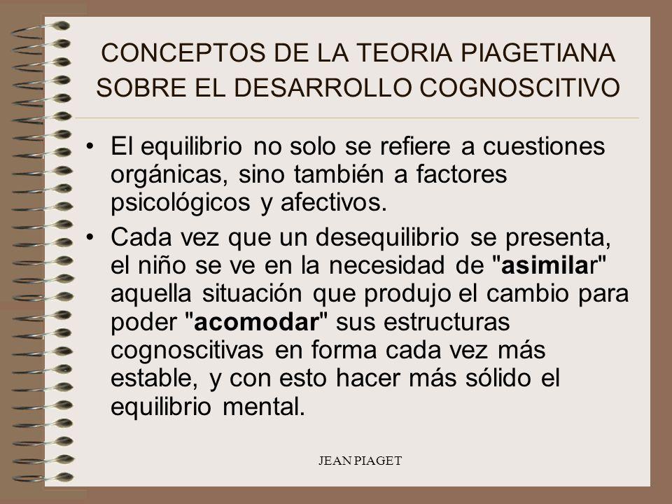 JEAN PIAGET CONCEPTOS DE LA TEORIA PIAGETIANA SOBRE EL DESARROLLO COGNOSCITIVO El equilibrio no solo se refiere a cuestiones orgánicas, sino también a