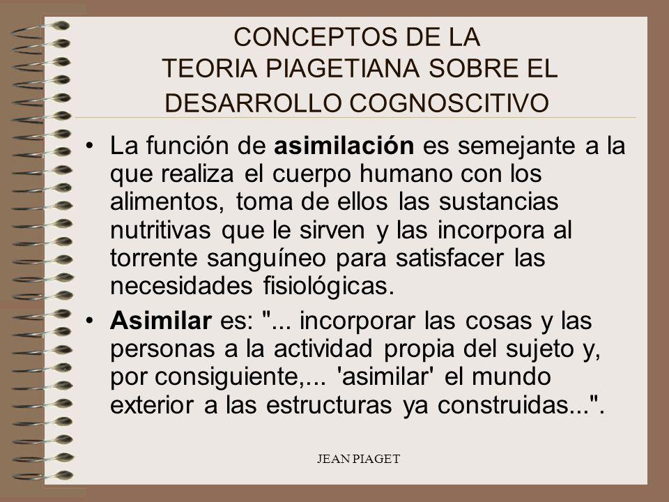 JEAN PIAGET CONCEPTOS DE LA TEORIA PIAGETIANA SOBRE EL DESARROLLO COGNOSCITIVO La función de asimilación es semejante a la que realiza el cuerpo human