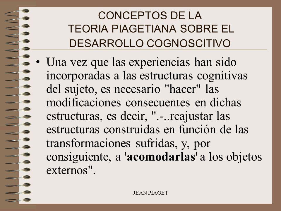 JEAN PIAGET CONCEPTOS DE LA TEORIA PIAGETIANA SOBRE EL DESARROLLO COGNOSCITIVO Una vez que las experiencias han sido incorporadas a las estructuras co