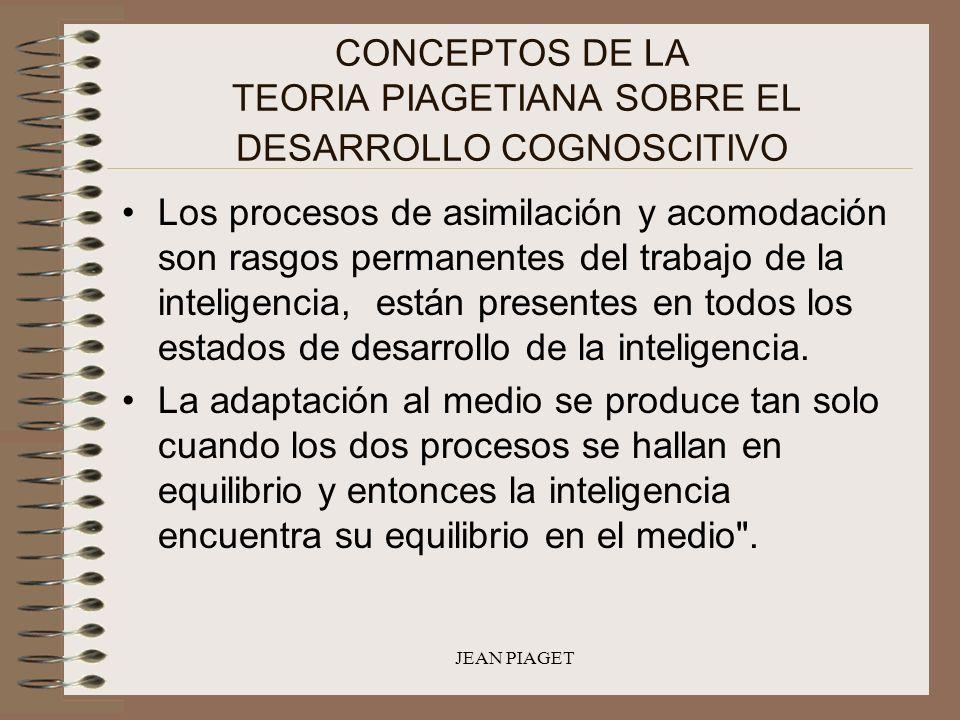 JEAN PIAGET CONCEPTOS DE LA TEORIA PIAGETIANA SOBRE EL DESARROLLO COGNOSCITIVO Los procesos de asimilación y acomodación son rasgos permanentes del tr