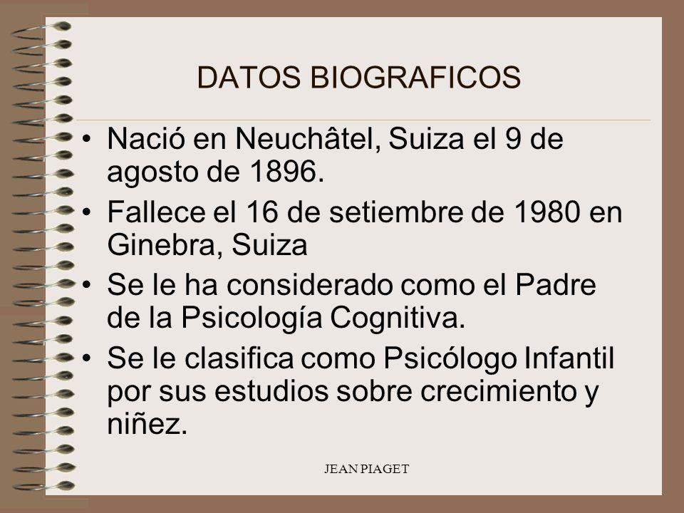 JEAN PIAGET DATOS BIOGRAFICOS Nació en Neuchâtel, Suiza el 9 de agosto de 1896. Fallece el 16 de setiembre de 1980 en Ginebra, Suiza Se le ha consider