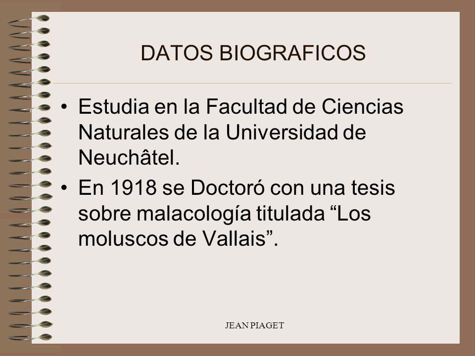 JEAN PIAGET DATOS BIOGRAFICOS Estudia en la Facultad de Ciencias Naturales de la Universidad de Neuchâtel. En 1918 se Doctoró con una tesis sobre mala