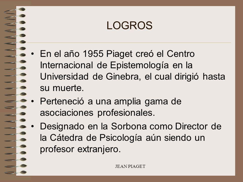 JEAN PIAGET LOGROS En el año 1955 Piaget creó el Centro Internacional de Epistemología en la Universidad de Ginebra, el cual dirigió hasta su muerte.