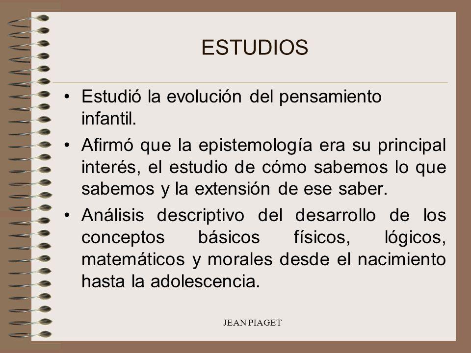 JEAN PIAGET ESTUDIOS Estudió la evolución del pensamiento infantil. Afirmó que la epistemología era su principal interés, el estudio de cómo sabemos l