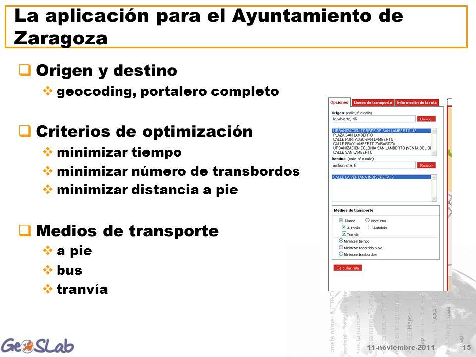 11-noviembre-201115 La aplicación para el Ayuntamiento de Zaragoza Origen y destino geocoding, portalero completo Criterios de optimización minimizar