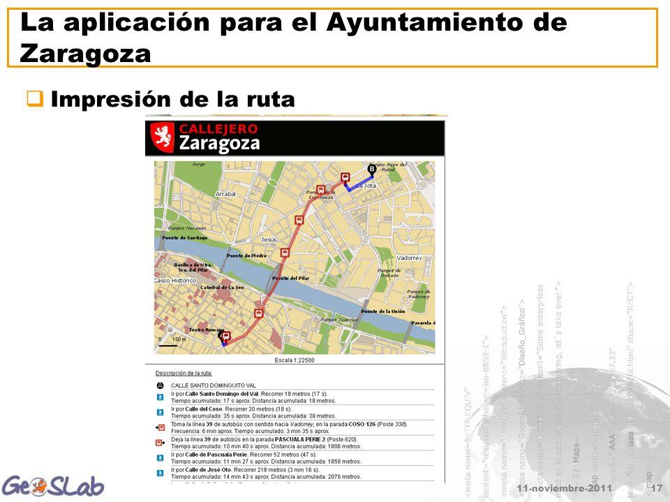 11-noviembre-201117 La aplicación para el Ayuntamiento de Zaragoza Impresión de la ruta