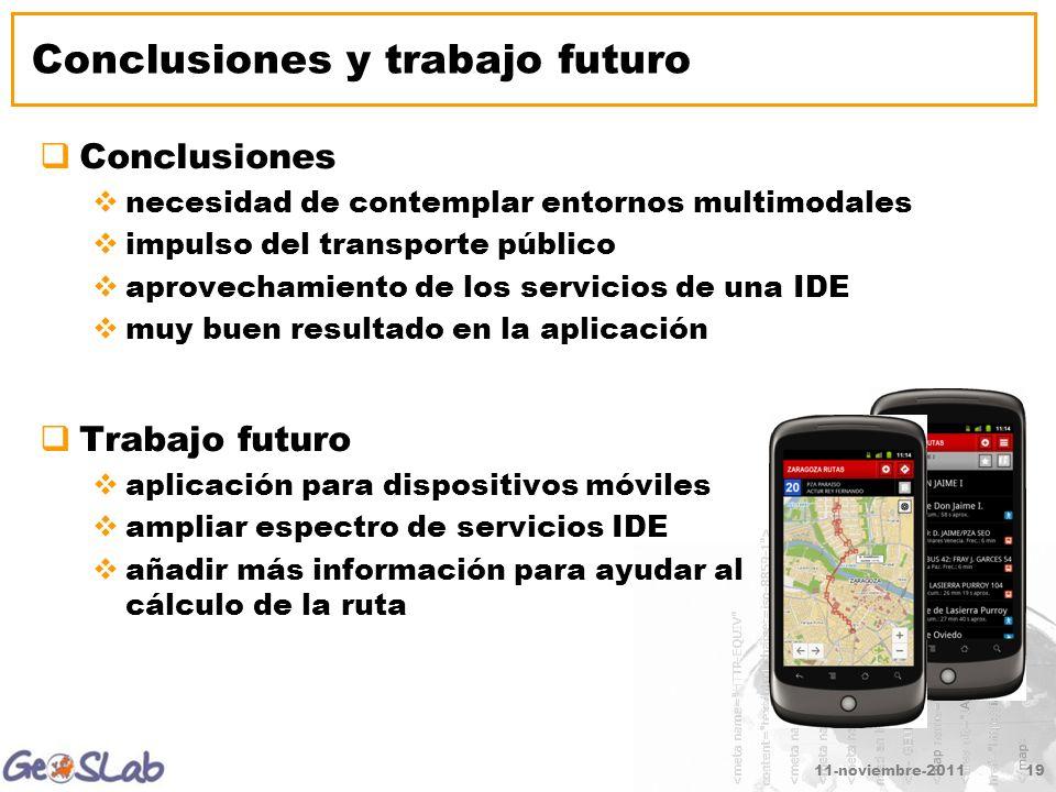 11-noviembre-201119 Conclusiones y trabajo futuro Conclusiones necesidad de contemplar entornos multimodales impulso del transporte público aprovecham