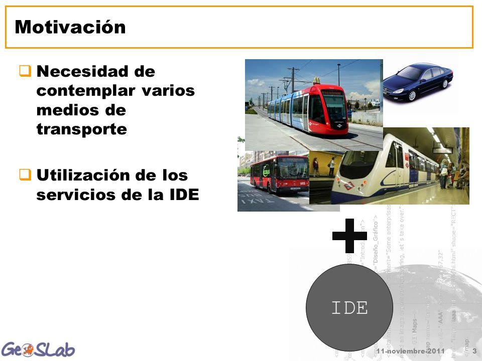 Motivación Necesidad de contemplar varios medios de transporte Utilización de los servicios de la IDE 11-noviembre-20113 IDE