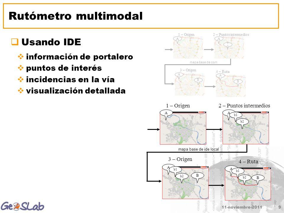 11-noviembre-20119 Rutómetro multimodal Usando IDE información de portalero puntos de interés incidencias en la vía visualización detallada 2 – Puntos intermedios A 1 – Origen A b1 b2 3 – Origen A b1 b2 B 4 – Ruta A b2 B b1 mapa base de ide local 2 – Puntos intermedios A 1 – Origen A b2b2 3 – Origen A B 4 – Ruta A B mapa base de osm